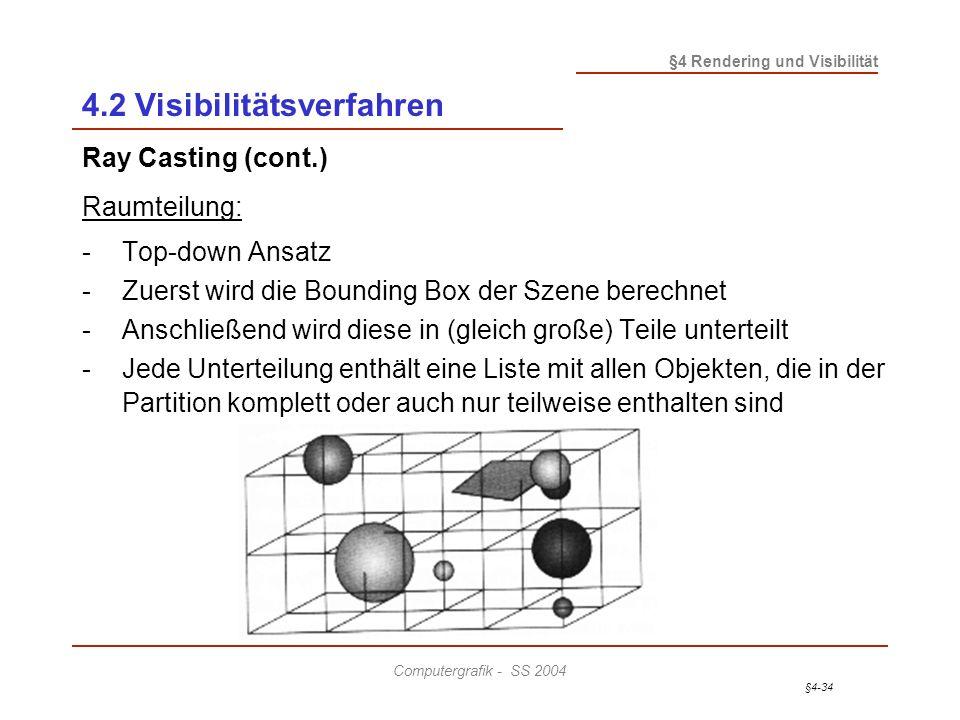 §4-34 §4 Rendering und Visibilität Computergrafik - SS 2004 4.2 Visibilitätsverfahren Ray Casting (cont.) Raumteilung: - Top-down Ansatz - Zuerst wird