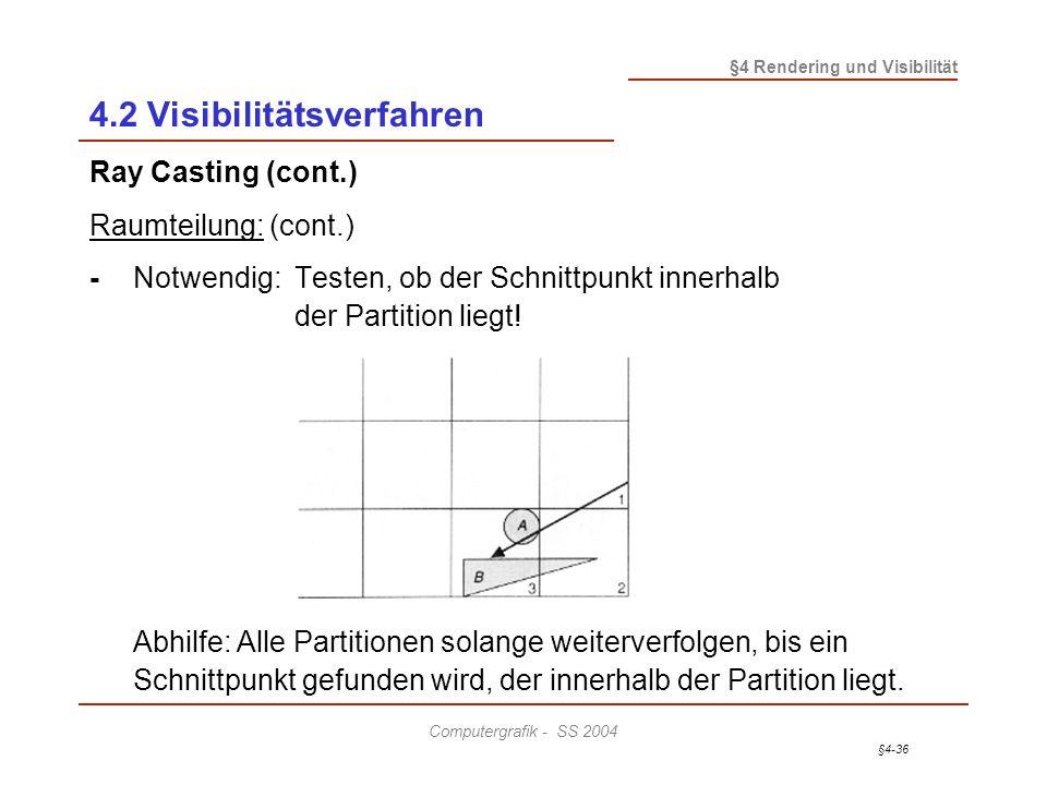 §4-36 §4 Rendering und Visibilität Computergrafik - SS 2004 4.2 Visibilitätsverfahren Ray Casting (cont.) Raumteilung: (cont.) - Notwendig: Testen, ob