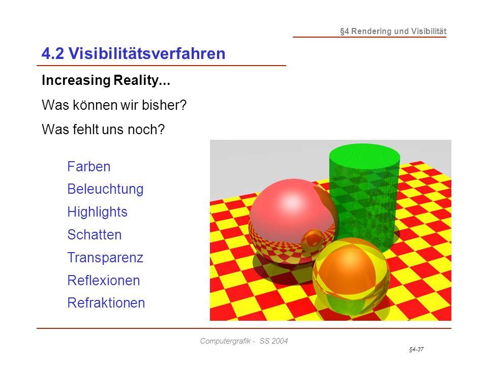 §4-37 §4 Rendering und Visibilität Computergrafik - SS 2004 4.2 Visibilitätsverfahren Increasing Reality... Was können wir bisher? Was fehlt uns noch?