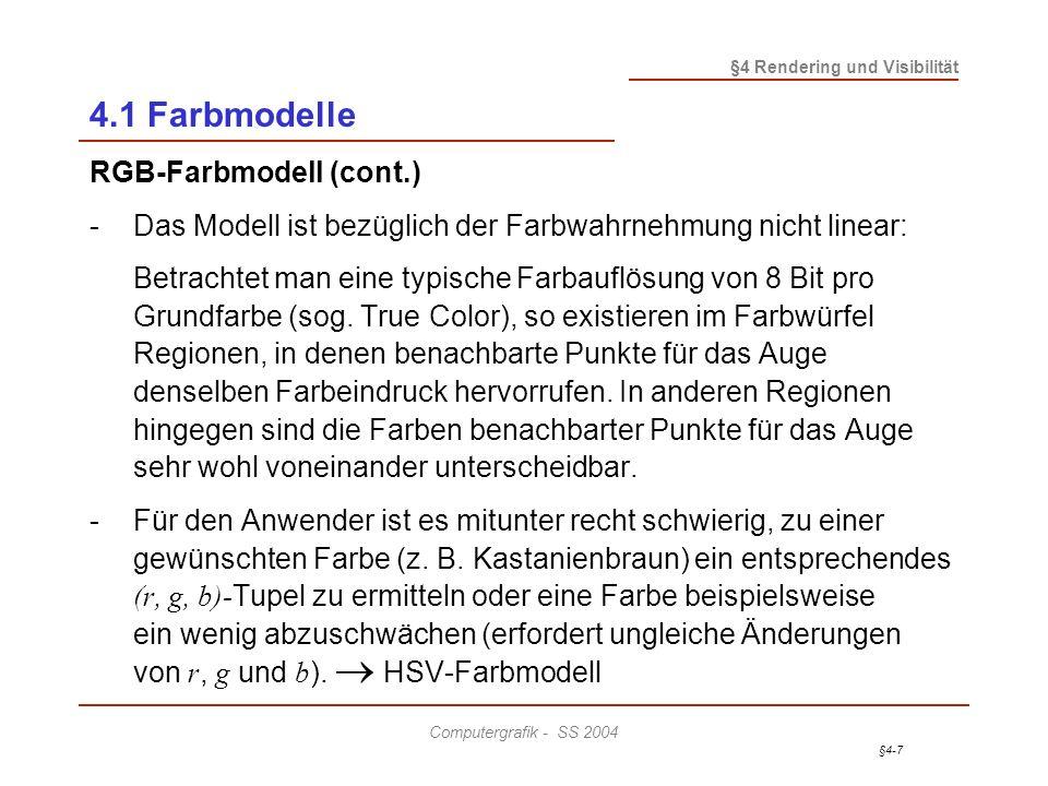 §4-28 §4 Rendering und Visibilität Computergrafik - SS 2004 4.2 Visibilitätsverfahren Strahlverfolgungs-Algorithmus (Ray Tracing / Ray Casting) - Ray Casting: Löst die Sichtbarkeit - Ray Tracing: Ray Casting + Weiterverfolgung reflektierter bzw.
