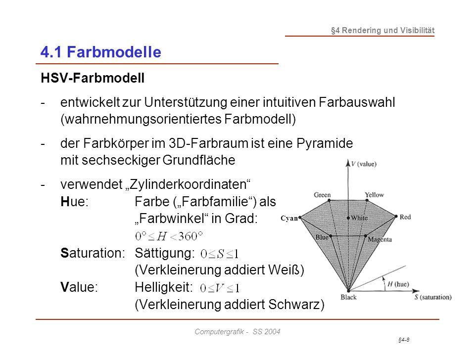 §4-9 §4 Rendering und Visibilität Computergrafik - SS 2004 4.1 Farbmodelle Zusammenhang zwischen HSV- und RGB-Modell: -Die Grundfläche der HSV-Pyramide entsteht aus dem RGB- Würfel durch Projektion entlang der Raumdiagonale von Weiß nach Schwarz auf eine dazu senkrecht stehende Ebene.