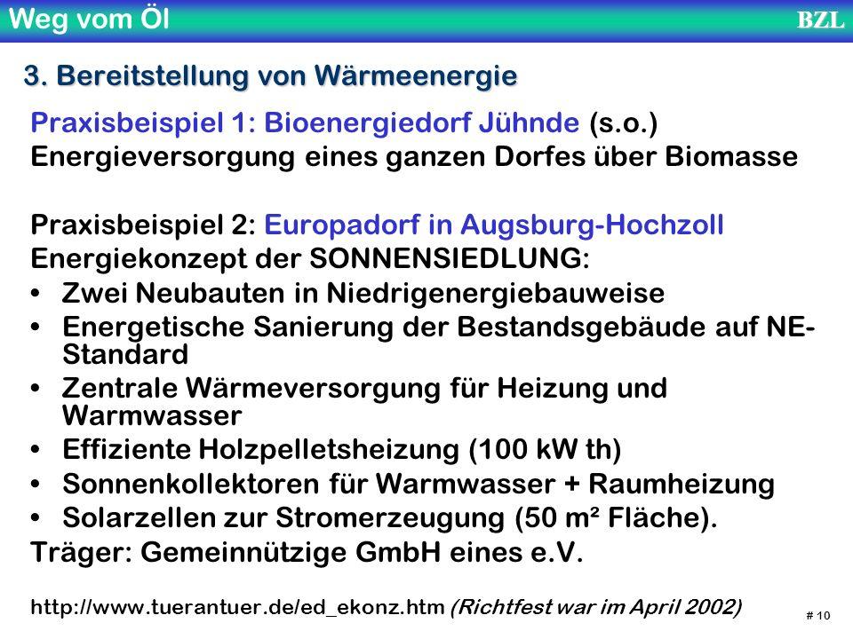 Weg vom ÖlBZL # 10 3. Bereitstellung von Wärmeenergie Praxisbeispiel 1: Bioenergiedorf Jühnde (s.o.) Energieversorgung eines ganzen Dorfes über Biomas