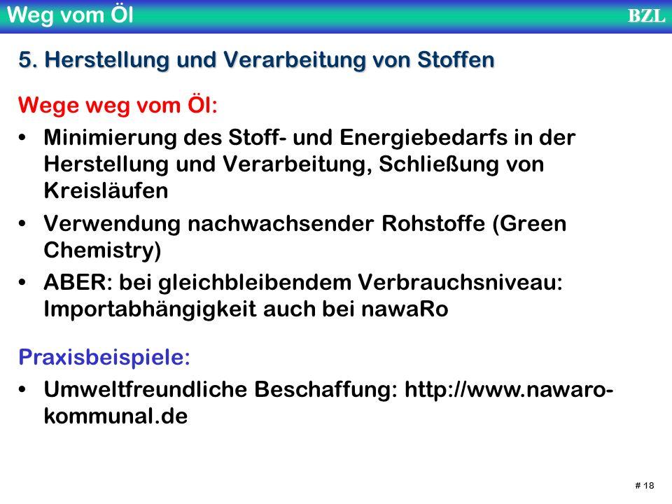 Weg vom ÖlBZL # 18 5. Herstellung und Verarbeitung von Stoffen Wege weg vom Öl: Minimierung des Stoff- und Energiebedarfs in der Herstellung und Verar