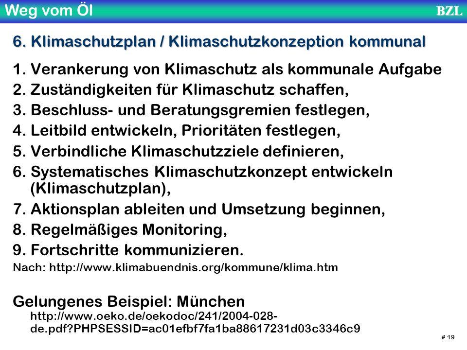 Weg vom ÖlBZL # 19 6. Klimaschutzplan / Klimaschutzkonzeption kommunal 1. Verankerung von Klimaschutz als kommunale Aufgabe 2. Zuständigkeiten für Kli