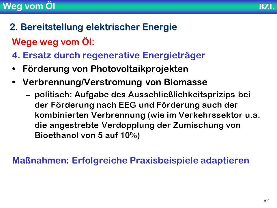 Weg vom ÖlBZL # 4 2. Bereitstellung elektrischer Energie Wege weg vom Öl: 4. Ersatz durch regenerative Energieträger Förderung von Photovoltaikprojekt