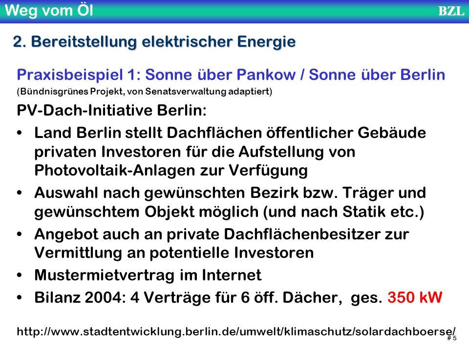 Weg vom ÖlBZL # 5 2. Bereitstellung elektrischer Energie Praxisbeispiel 1: Sonne über Pankow / Sonne über Berlin (Bündnisgrünes Projekt, von Senatsver