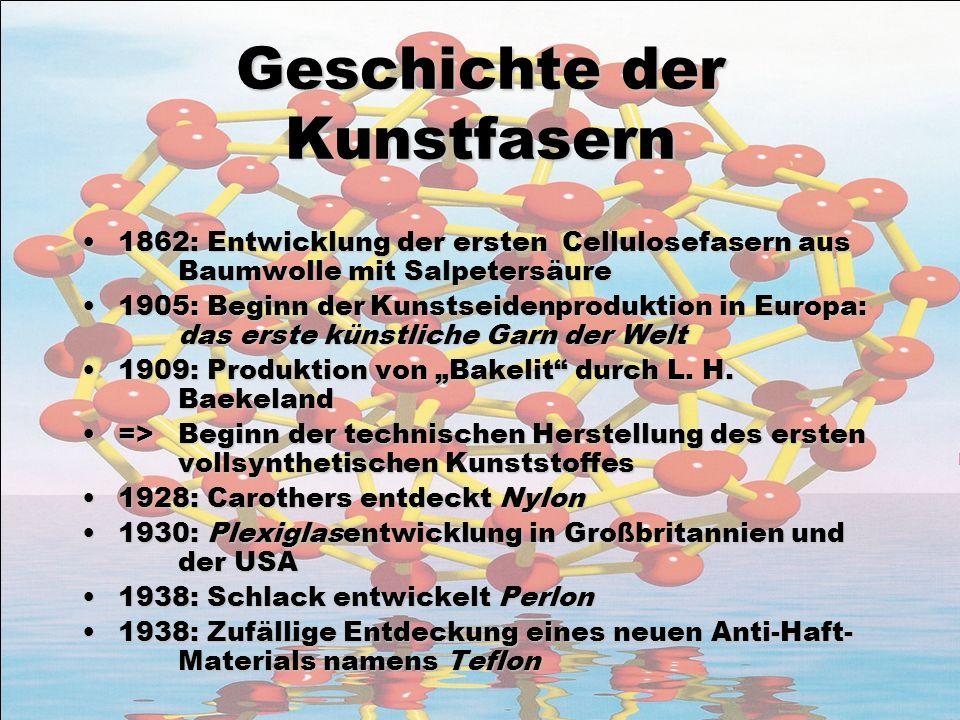 Geschichte der Kunstfasern 1862: Entwicklung der ersten Cellulosefasern aus Baumwolle mit Salpetersäure1862: Entwicklung der ersten Cellulosefasern au