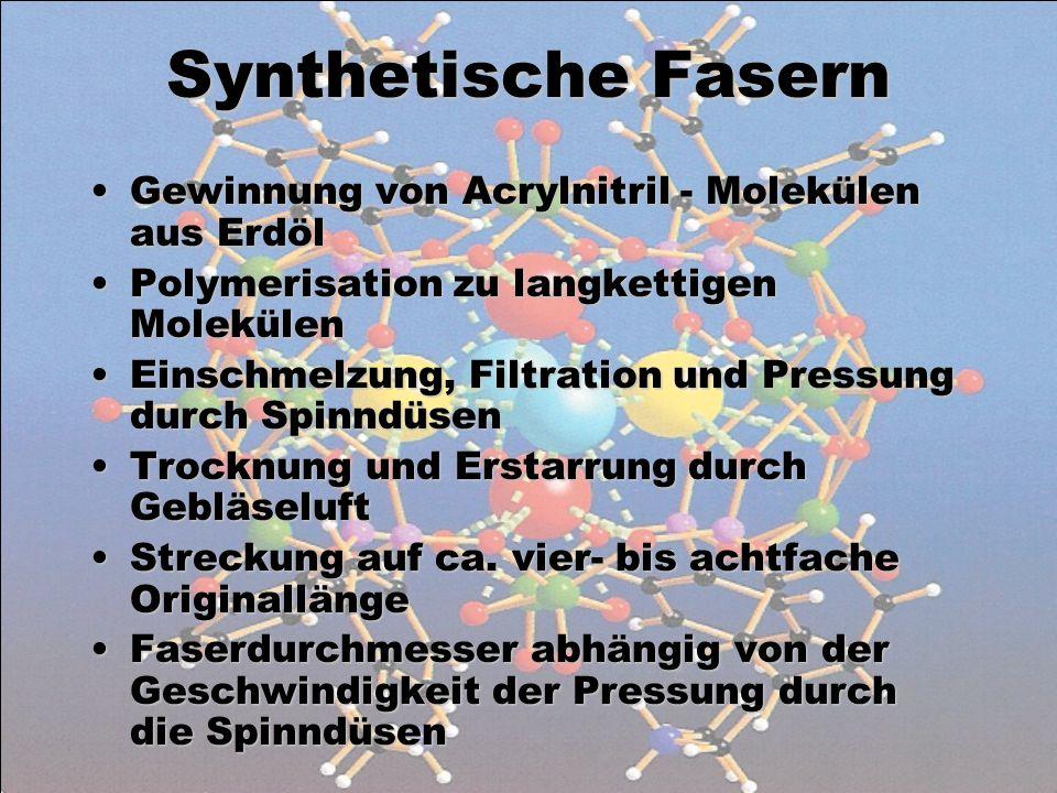 Synthetische Fasern Gewinnung von Acrylnitril - Molekülen aus ErdölGewinnung von Acrylnitril - Molekülen aus Erdöl Polymerisation zu langkettigen Mole