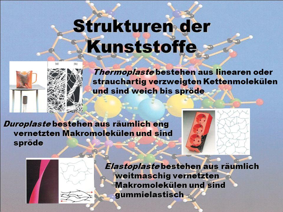 Strukturen der Kunststoffe Elastoplaste bestehen aus räumlich weitmaschig vernetzten Makromolekülen und sind gummielastisch Duroplaste bestehen aus räumlich eng vernetzten Makromolekülen und sind spröde strauchartig Thermoplaste bestehen aus linearen oder strauchartig verzweigten Kettenmolekülen und sind weich bis spröde