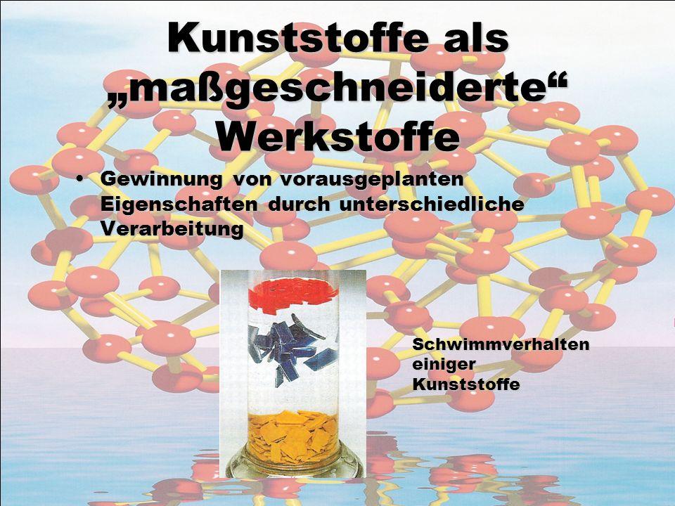 Kunststoffe als maßgeschneiderte Werkstoffe Gewinnung von vorausgeplanten Eigenschaften durch unterschiedliche VerarbeitungGewinnung von vorausgeplant