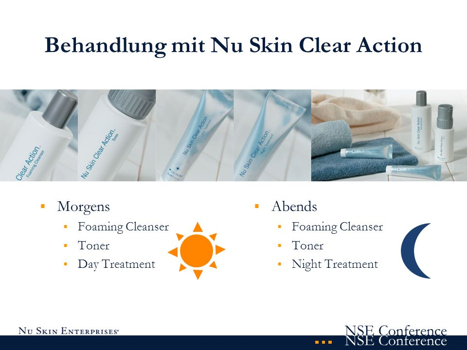 NSE Conference Behandlung mit Nu Skin Clear Action Morgens Foaming Cleanser Toner Day Treatment Abends Foaming Cleanser Toner Night Treatment