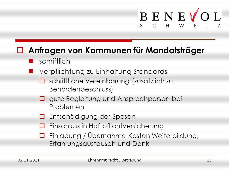 02.11.2011Ehrenamt rechtl. Betreuung15 Anfragen von Kommunen für Mandatsträger schriftlich Verpflichtung zu Einhaltung Standards schriftliche Vereinba