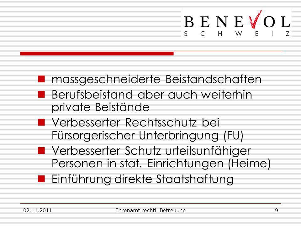 02.11.2011Ehrenamt rechtl. Betreuung9 massgeschneiderte Beistandschaften Berufsbeistand aber auch weiterhin private Beistände Verbesserter Rechtsschut