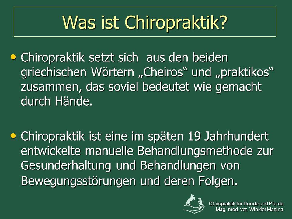 Was ist Chiropraktik? Chiropraktik setzt sich aus den beiden griechischen Wörtern Cheiros und praktikos zusammen, das soviel bedeutet wie gemacht durc