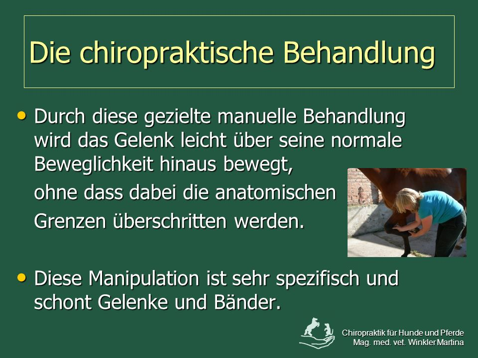 Durch diese gezielte manuelle Behandlung wird das Gelenk leicht über seine normale Beweglichkeit hinaus bewegt, Durch diese gezielte manuelle Behandlu