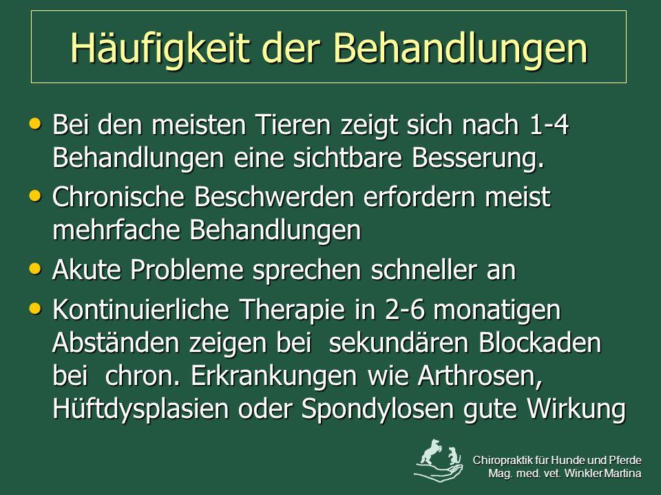 Bei den meisten Tieren zeigt sich nach 1-4 Behandlungen eine sichtbare Besserung. Bei den meisten Tieren zeigt sich nach 1-4 Behandlungen eine sichtba
