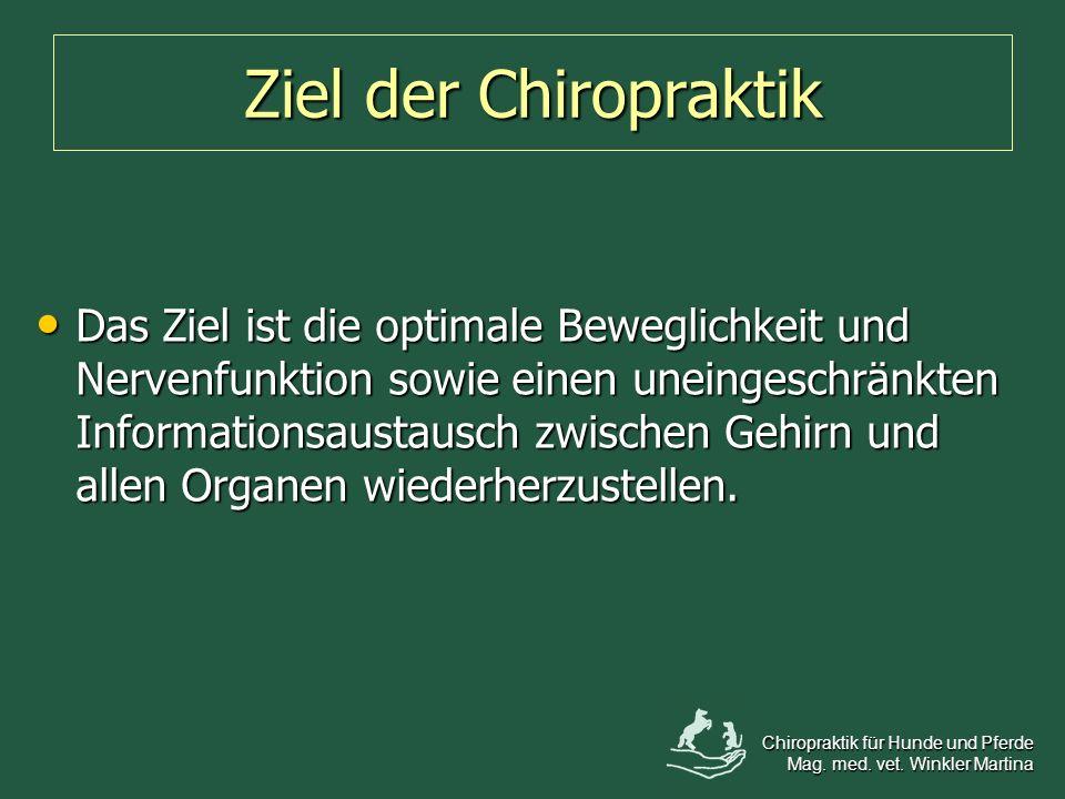 Ziel der Chiropraktik Das Ziel ist die optimale Beweglichkeit und Nervenfunktion sowie einen uneingeschränkten Informationsaustausch zwischen Gehirn u