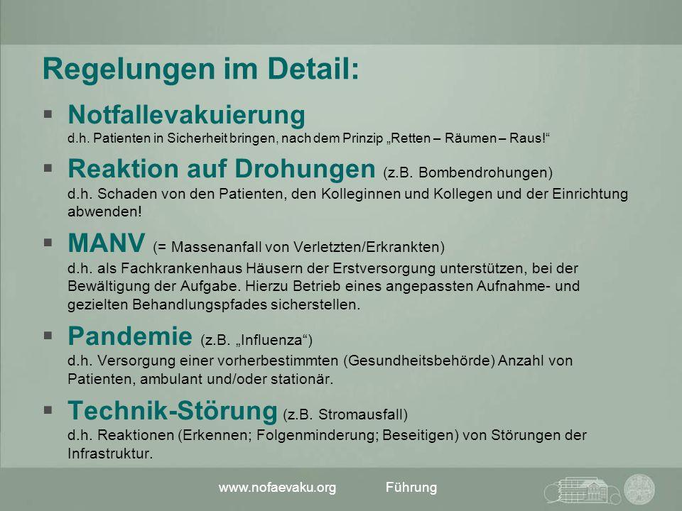 www.nofaevaku.orgFührung Regelungen im Detail: Notfallevakuierung d.h. Patienten in Sicherheit bringen, nach dem Prinzip Retten – Räumen – Raus! Reakt