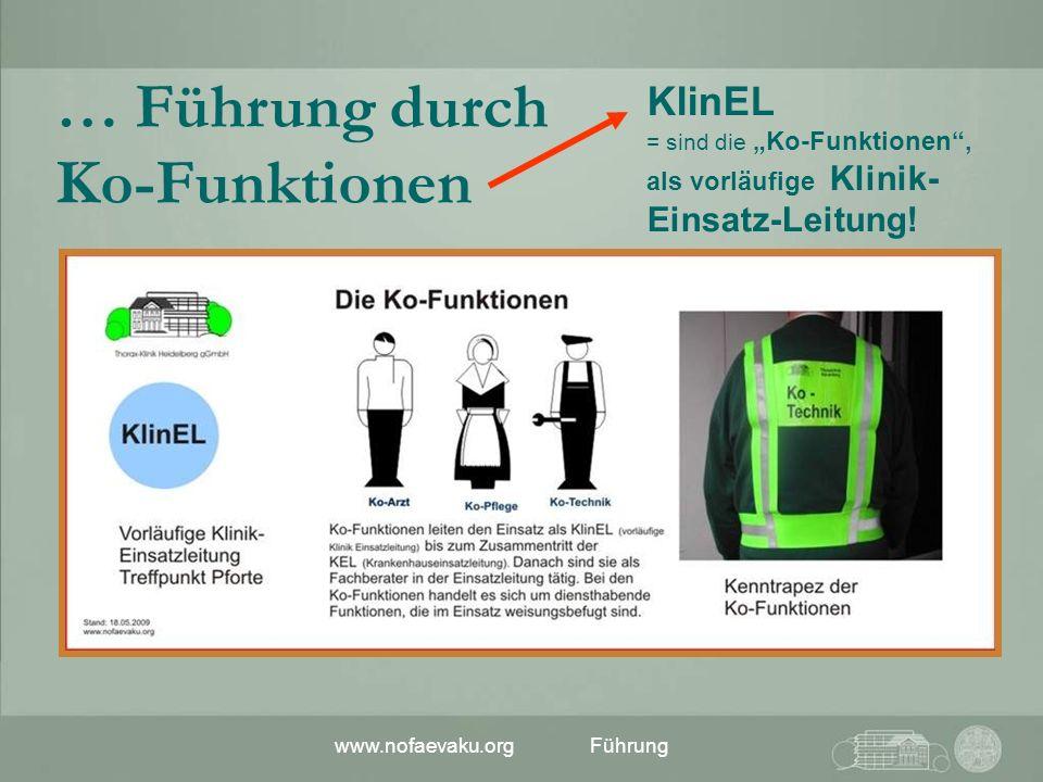 www.nofaevaku.orgFührung KlinEL = sind die Ko-Funktionen, als vorläufige Klinik- Einsatz-Leitung! … Führung durch Ko-Funktionen