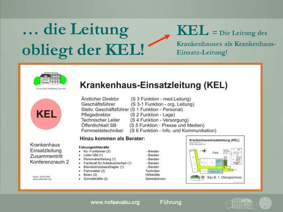 www.nofaevaku.orgFührung KEL = Die Leitung des Krankenhauses als Krankenhaus- Einsatz-Leitung! … die Leitung obliegt der KEL!