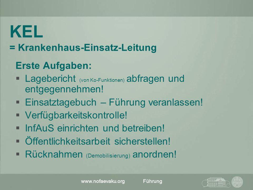 www.nofaevaku.orgFührung KEL = Krankenhaus-Einsatz-Leitung Erste Aufgaben: Lagebericht (von Ko-Funktionen) abfragen und entgegennehmen! Einsatztagebuc