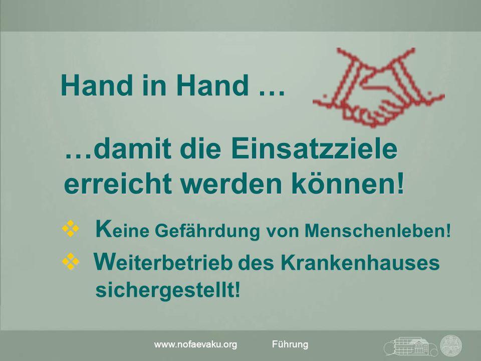 www.nofaevaku.orgFührung K eine Gefährdung von Menschenleben! Hand in Hand … …damit die Einsatzziele erreicht werden können! W eiterbetrieb des Kranke