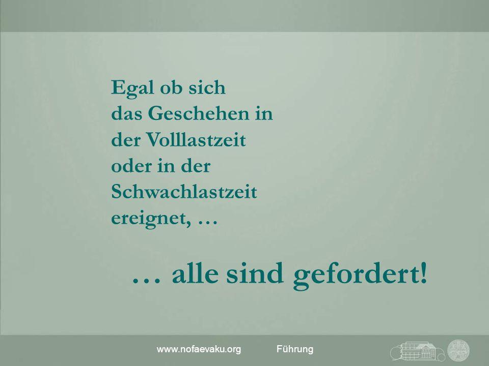 www.nofaevaku.orgFührung Egal ob sich das Geschehen in der Volllastzeit oder in der Schwachlastzeit ereignet, … … alle sind gefordert!