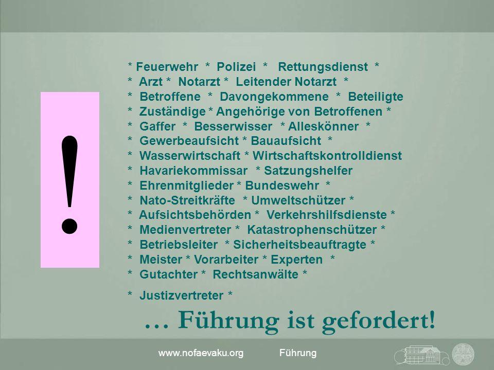 www.nofaevaku.orgFührung * Feuerwehr * Polizei * Rettungsdienst * * Arzt * Notarzt * Leitender Notarzt * * Betroffene * Davongekommene * Beteiligte *