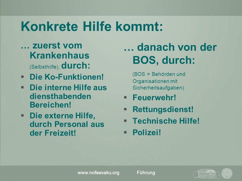 www.nofaevaku.orgFührung Konkrete Hilfe kommt: … zuerst vom Krankenhaus (Selbsthilfe), durch: Die Ko-Funktionen! Die interne Hilfe aus diensthabenden