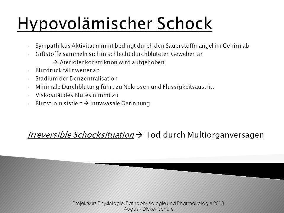 Hypovolämischer Schock Projektkurs Physiologie, Pathophysiologie und Pharmakologie 2013 August- Dicke- Schule