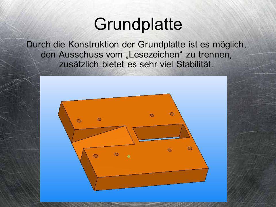 Schneidplatte + Führungsschiene Durch die besondere Konstruktion der Schneidplatte ist es möglich das Lesezeichen schnell herzustellen, durch die Hilfe von 2 Zylinderstiften die denn Streifen vor dem 2 Stempel zentrieren, so das ein perfektes Endprodukt entsteht