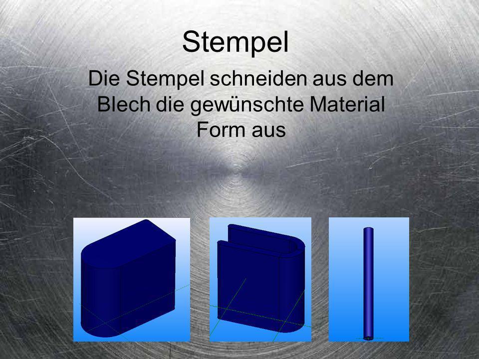 Stempel Die Stempel schneiden aus dem Blech die gewünschte Material Form aus