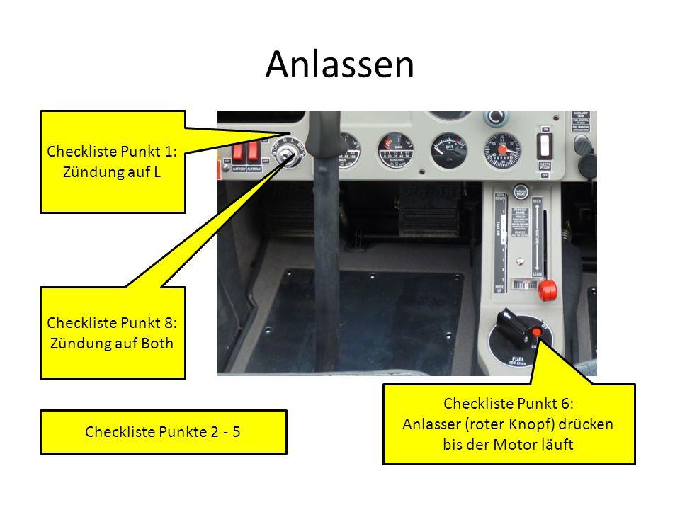 Anlassen Checkliste Punkt 1: Zündung auf L Checkliste Punkt 6: Anlasser (roter Knopf) drücken bis der Motor läuft Checkliste Punkt 8: Zündung auf Both Checkliste Punkte 2 - 5