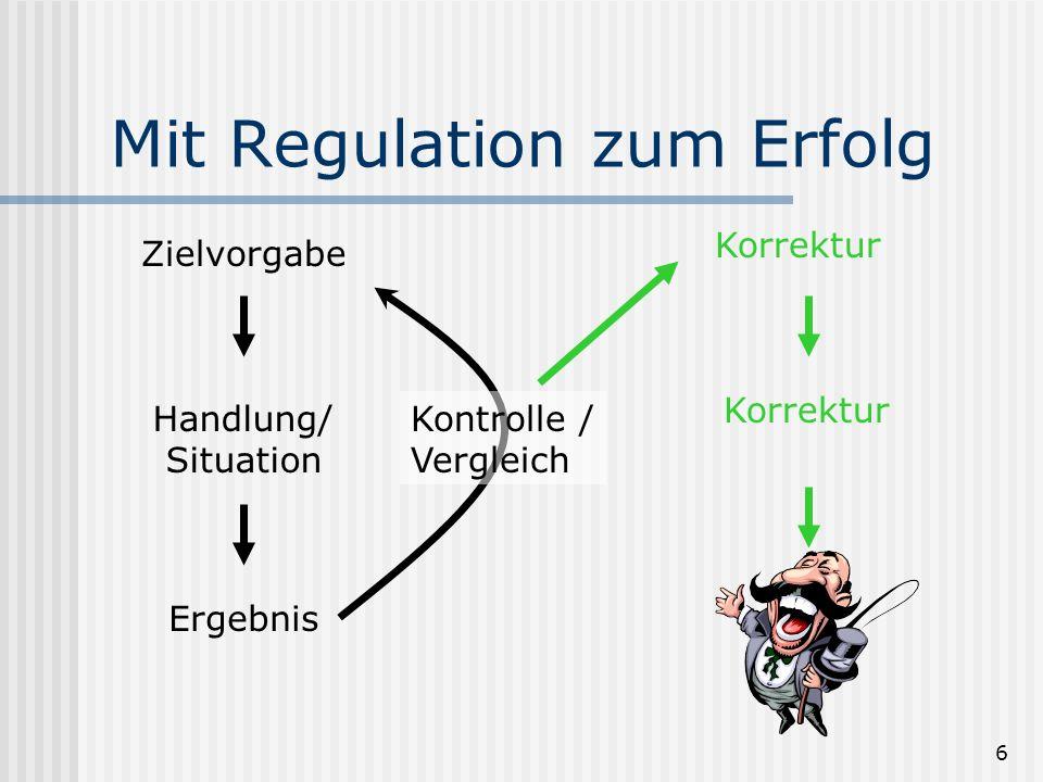 6 Korrektur Zielvorgabe Handlung/ Situation Ergebnis Kontrolle / Vergleich Korrektur Mit Regulation zum Erfolg