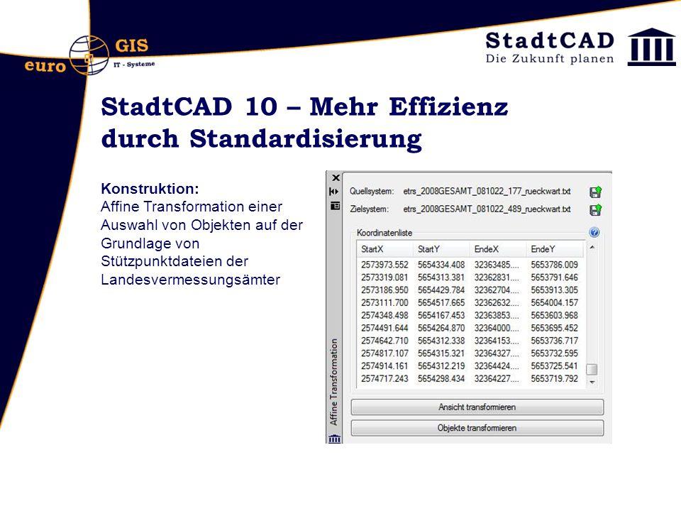 StadtCAD 10 – Mehr Effizienz durch Standardisierung Konstruktion: Affine Transformation einer Auswahl von Objekten auf der Grundlage von Stützpunktdateien der Landesvermessungsämter
