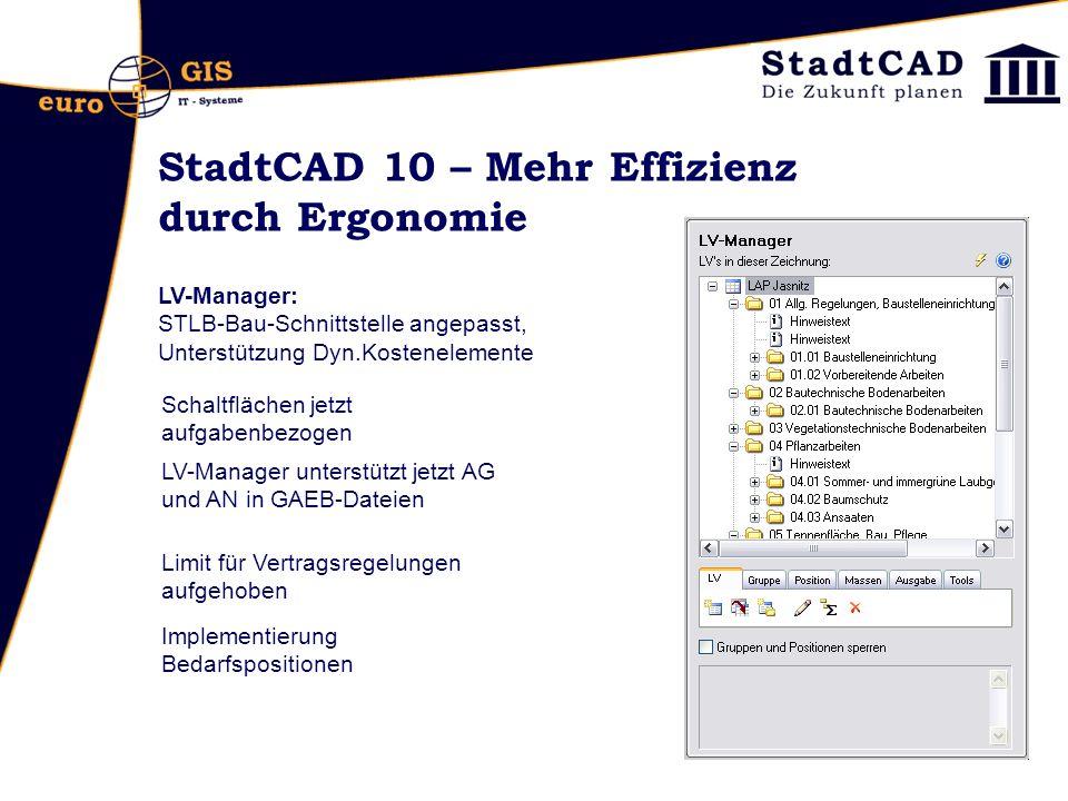 StadtCAD 10 – Mehr Effizienz durch Ergonomie LV-Manager: STLB-Bau-Schnittstelle angepasst, Unterstützung Dyn.Kostenelemente Schaltflächen jetzt aufgab