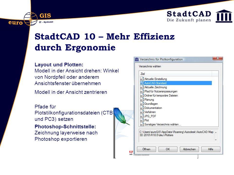 StadtCAD 10 – Mehr Effizienz durch Ergonomie Layout und Plotten: Modell in der Ansicht drehen: Winkel von Nordpfeil oder anderem Ansichtsfenster übern