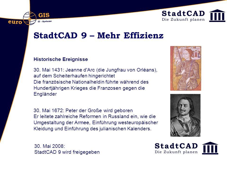 StadtCAD 9 – Mehr Effizienz Historische Ereignisse 30. Mai 1431: Jeanne d'Arc (die Jungfrau von Orléans), auf dem Scheiterhaufen hingerichtet Die fran