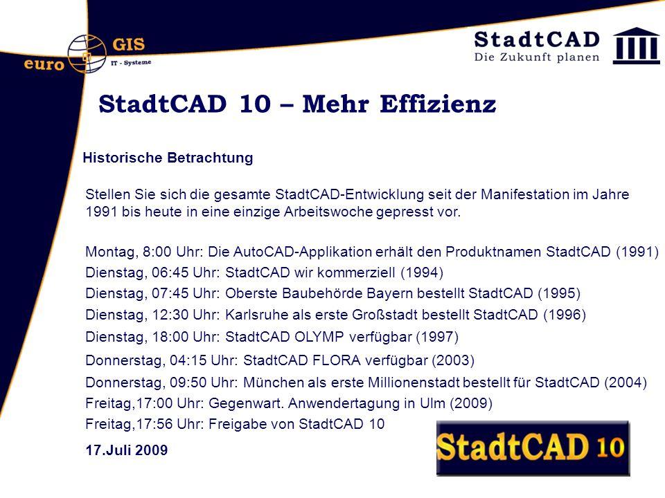 StadtCAD 10 – Mehr Effizienz Historische Betrachtung Stellen Sie sich die gesamte StadtCAD-Entwicklung seit der Manifestation im Jahre 1991 bis heute in eine einzige Arbeitswoche gepresst vor.