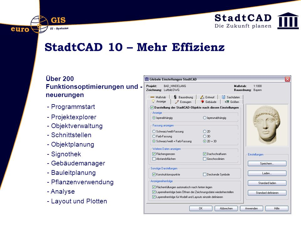 StadtCAD 10 – Mehr Effizienz durch Ergonomie Programmstart: CAD-Plattform wählen: es werden nur noch die unterstützen Versionen gelistet (2007 – 2010)