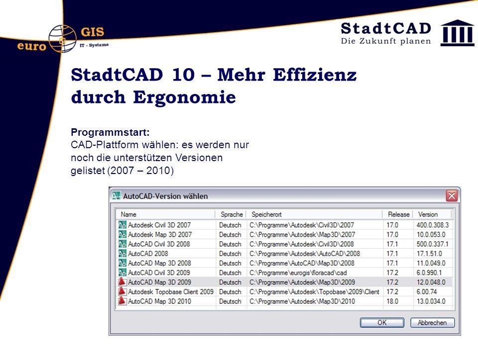 StadtCAD 10 – Mehr Effizienz durch Ergonomie Projektexplorer : Kontextmenü nur aktive Projekte anzeigen listet nur noch diejenigen Projekte, auf deren Zeichnungsverzeichnis zugegriffen werden kann.