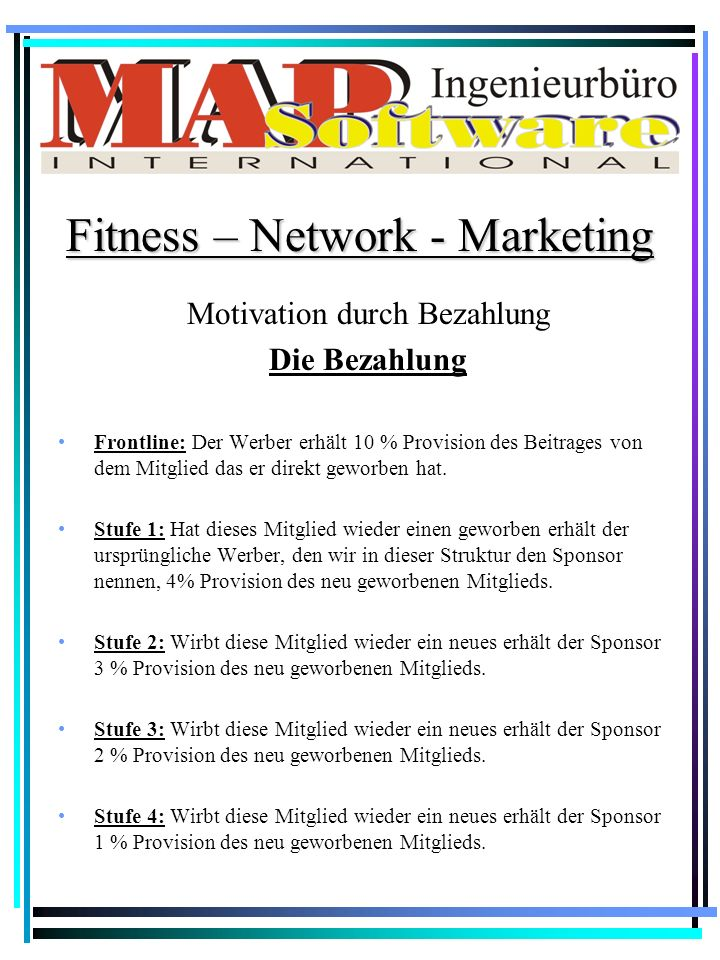Motivation durch Bezahlung Die Bezahlung Fitness – Network - Marketing