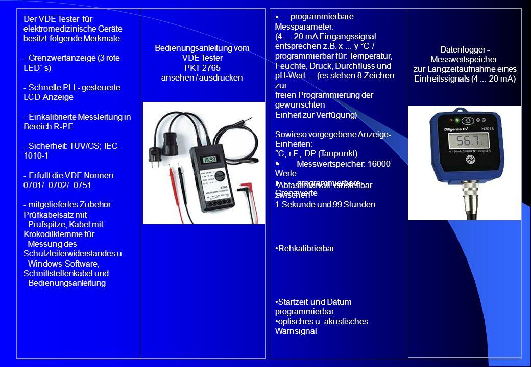 Der VDE Tester für elektromedizinische Geräte besitzt folgende Merkmale: - Grenzwertanzeige (3 rote LED´ s) - Schnelle PLL- gesteuerte LCD-Anzeige - Einkalibrierte Messleitung in Bereich R-PE - Sicherheit: TÜV/GS; IEC- 1010-1 - Erfüllt die VDE Normen 0701/ 0702/ 0751 - mitgeliefertes Zubehör: Prüfkabelsatz mit Prüfspitze, Kabel mit Krokodilklemme für Messung des Schutzleiterwiderstandes u.