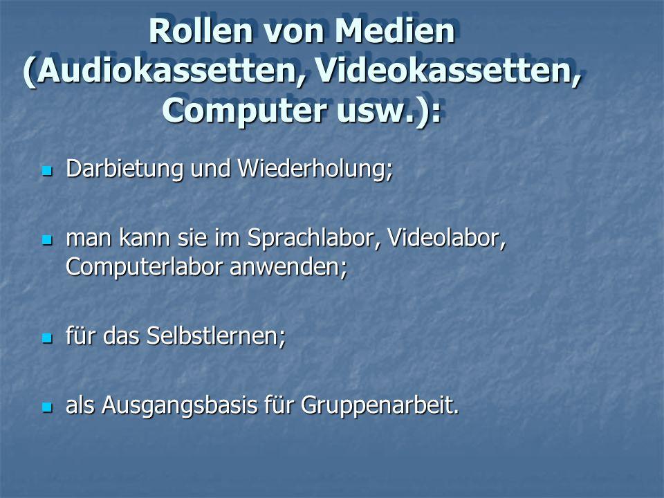 Rollen von Medien (Audiokassetten, Videokassetten, Computer usw.): Rollen von Medien (Audiokassetten, Videokassetten, Computer usw.): Darbietung und W