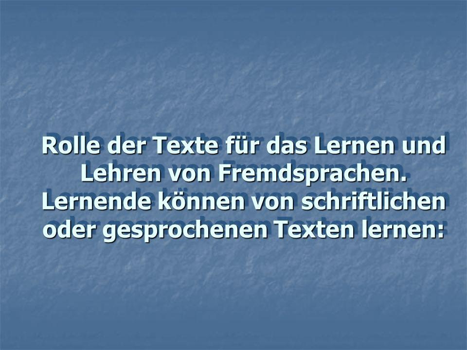 Rolle der Texte für das Lernen und Lehren von Fremdsprachen. Lernende können von schriftlichen oder gesprochenen Texten lernen: