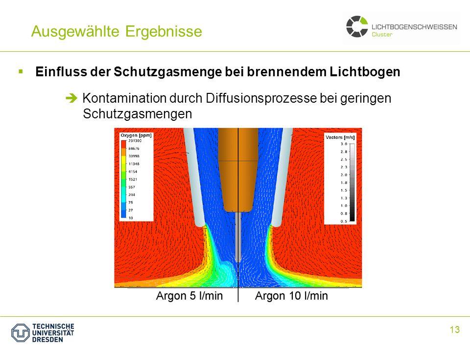 13 Ausgewählte Ergebnisse Einfluss der Schutzgasmenge bei brennendem Lichtbogen Kontamination durch Diffusionsprozesse bei geringen Schutzgasmengen
