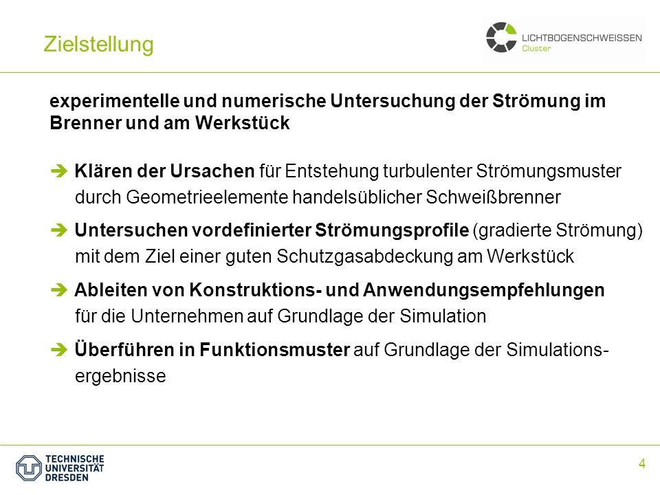 4 Zielstellung experimentelle und numerische Untersuchung der Strömung im Brenner und am Werkstück Untersuchen vordefinierter Strömungsprofile (gradie