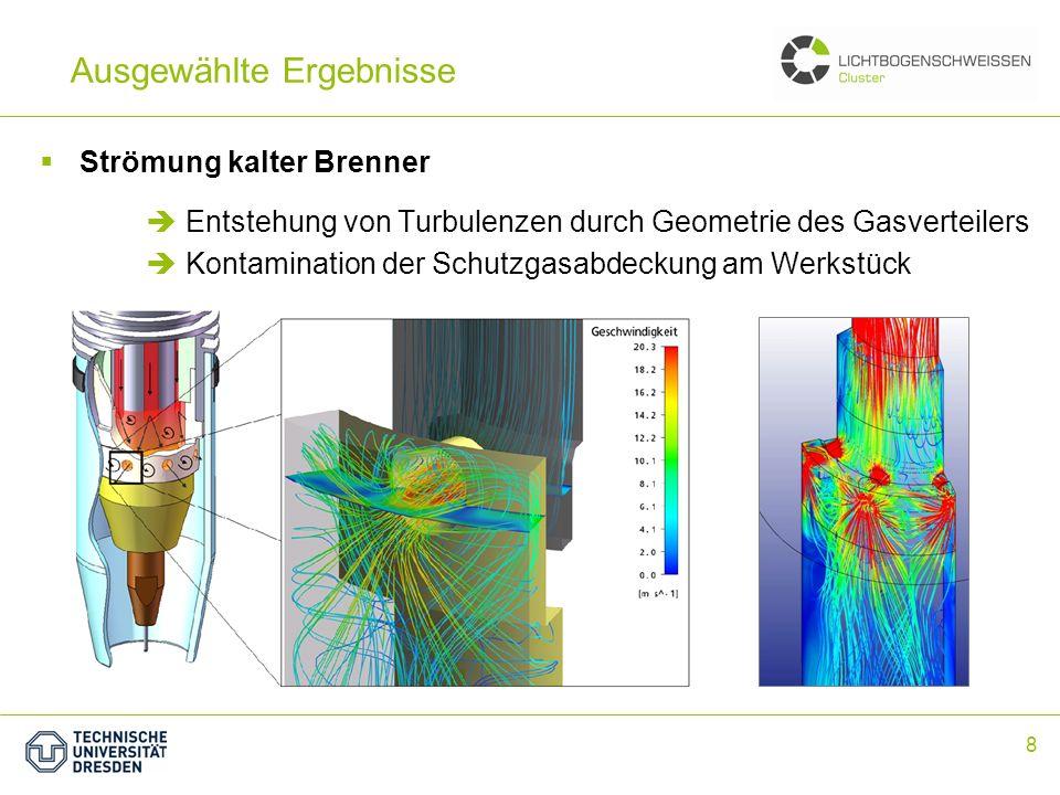 8 Ausgewählte Ergebnisse Strömung kalter Brenner Entstehung von Turbulenzen durch Geometrie des Gasverteilers Kontamination der Schutzgasabdeckung am