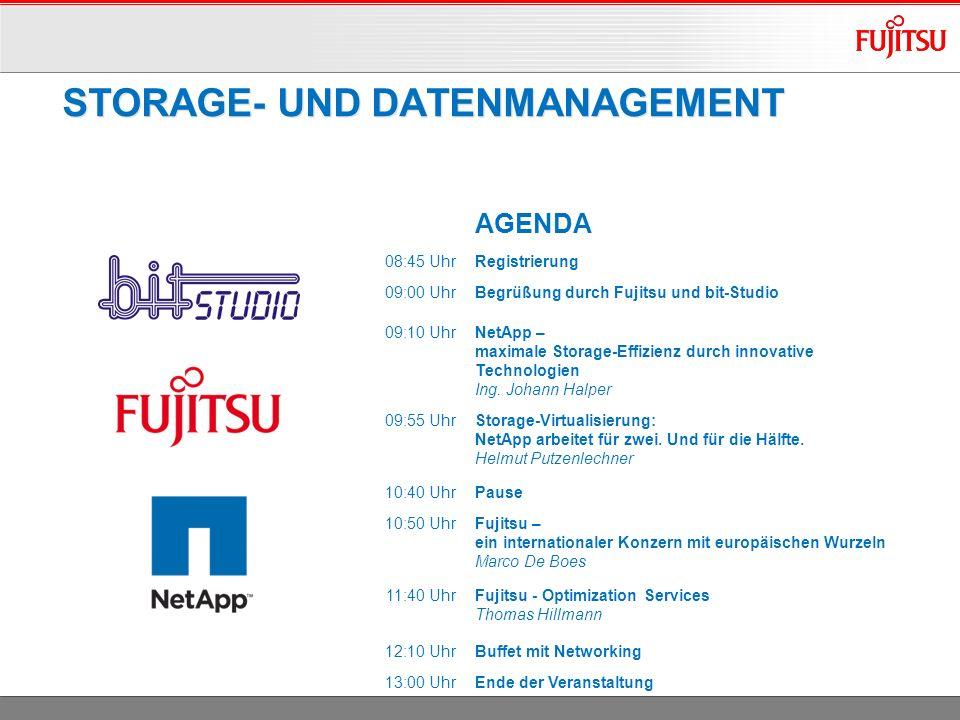STORAGE- UND DATENMANAGEMENT AGENDA 08:45 UhrRegistrierung 09:00 UhrBegrüßung durch Fujitsu und bit-Studio 09:10 UhrNetApp – maximale Storage-Effizienz durch innovative Technologien Ing.