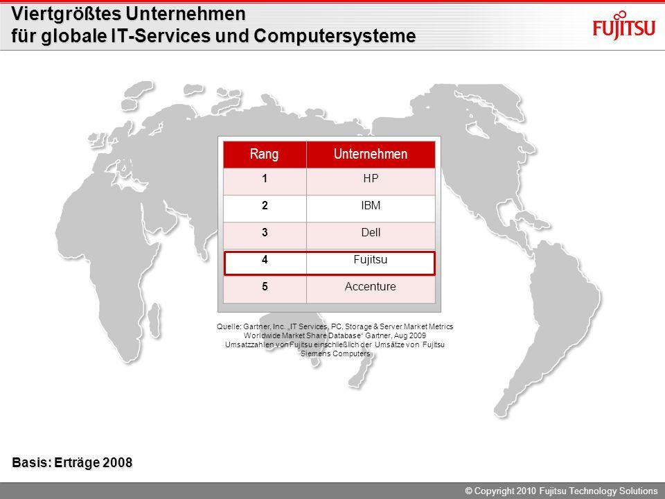 © Copyright 2010 Fujitsu Technology Solutions Viertgrößtes Unternehmen für globale IT-Services und Computersysteme RangUnternehmen 1HP 2IBM 3Dell 4Fujitsu 5Accenture Quelle: Gartner, Inc.